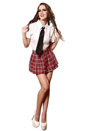 Wholesale Sexy Lingerie School Girl Costume - alloween school girl Sexy Schoolgirl Lingerie Costume School Girls Halloween Costume Uniform Set White Blouse Top With Black Tie Plaid Sk...
