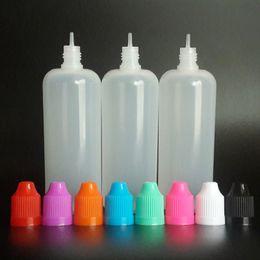 cajas de lápiz labial negro al por mayor Rebajas Botellas de plástico vacías de 120 ml Botellas cuentagotas de LDPE E de 120 ml con tapas a prueba de niños y puntas de aguja para botellas de jugo E