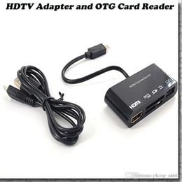 Wholesale Tv Box Usb Hub - Micro USB OTG SD TF Card Reader Writer HUB MHL to HDMI HDTV TV Adapter for Samsung Galaxy S3 S4 Note2 i9300 i9500