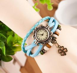 Wholesale Ladies Clover Watch - 2016 hot sale Leather Hand Knit Vintage Watches Dress bracelet Women Girls Ladies clover Pendant Retro
