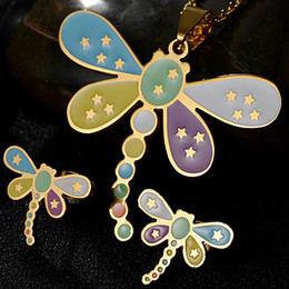 Wholesale Jewelry Set Cartoon - Factory Direct 316L Stainless Steel Jewelry Cartoon Dragonfly Necklace and Earring Set 18K Gold Plated Jewelry Sets Wholesale