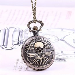 Wholesale Wholesale Mens Vintage Watches - Vintage 2ND AMENDMENT Pocket Watches for Men Women antique Pendant Necklace Watch retro bronze harry potter watch mens man gifts wholesale