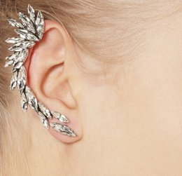 Wholesale Ear Cuff Right - Right Ear Clip Fashion Rhinestone Feather Ear cuff Jewelry Meniscus Silver Plated Clip On Earrings Ear Cuffs For Women And Girls DHE052