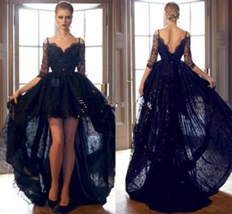 Wholesale Spaghetti Strap Red Carpet Dress - 2016 Black African Traditional Hi Low Prom Dresses Lace Off Shoulders Sheer Half Sleeves Beaded Backless Spaghetti Straps Evening Gowns