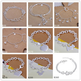 Wholesale Roman Lines - 8 pieces a lot mixed style women's sterling silver Bracelet,Six line sand beads hanging star Roman hanging five 925 silver Bracelet EMB4