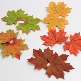 Wholesale Fall Leaf Crafts - Wholesale- 100Pcs lot Artidicial Silk Maple Leaves Multicolor Fake Fall Leaf For Art Scrapbooking Wedding Party Decoration Craft