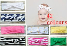 Wholesale Twist Knot Headwrap - 20PCS Cotton girl baby Turban Twist Headband Head Wrap Twisted Knot Soft stripe Hairband chevron Headbands golden Wave dot HeadWrap