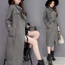 Wholesale Womens Trench Leather Coat - 2017 New Women's Fashion Suede Spring Autumn Trench With Belt Womens Winter Overcoat Jacket Plus Size Slim Trench Coat