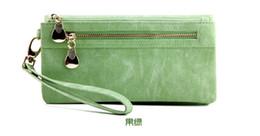 Wholesale Korean Models Bags - Female models fashion walletNubuck leather double zipper Miss Qian Bao long section of European and American clutch bag pu