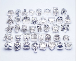 Wholesale Beads For Necklaces Bracelets - 40pcs lot Mix Style silver plated Big Hole Loose Beads metal charms For Pandora DIY Jewelry Bracelet For European charms Bracelet&Necklace