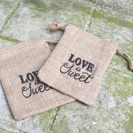 Wholesale rustic wedding favors - LOVE IS SWEET Hessian Burlap Drawstring Bags Rustic Wedding Favors Party Gift Candy Boxes DHL Free Shipping