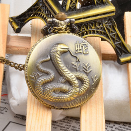 Wholesale Zodiac Symbols Animals - Men Unisex Kids Quartz Pocket Watch Snake Zodiac 12 Animal Year Symbol Fob Watches Pendant Clock Hot Selling + Box