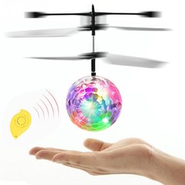Wholesale Remote Control Ball Toy - Aircraft Fly Ball Toys Hand Induction RC Flying Lighting Crystal Ball Sensing Aircraft Toy without with remote control