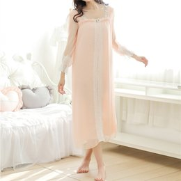 Wholesale Night Clothes Sleep - Wholesale- New Arrivals Lace-neck Women Nightgowns Sexy Night Dress Soft Sleep Shirts Solid Indoor Clothing White Nightgown Female #HH28