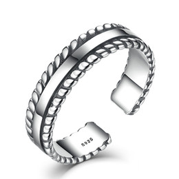 Wholesale Solid Silver 925 Man Rings - Solid 925 Sterling Silver Adjustable Ring Women Men Vintage Retro Ropes Edge Twist Unisex Finger Rings Jewelry VSR013