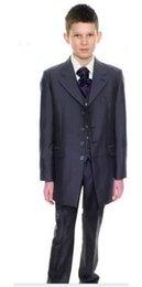 Wholesale Charcoal Suit Silver Tie - long charcoal page boy suit Boy Wedding Suit Boys' Formal Occasion Attire Custom made suit tuxedo(jacket+pants+vest+tie)