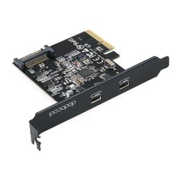 Wholesale Port Pci Superspeed Usb - dodocool SuperSpeed USB 3.1 PCI-Express Card with Dual Reversible Type-C Ports 5V 15-Pin Connector Gen 2 10 Gbps Black DC26