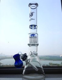 """Wholesale Big Clips - beaker style pipes glass bongs 18"""" thick big 13ARM percolator glass water pipes 14MM 18mm joint with clip drop shipping"""