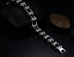 Wholesale Bracelets Bicycle Chain - high polished New arrival 316L stainless steel bicycle bracelets best selling Mens chain clasp bike chain link bracelets