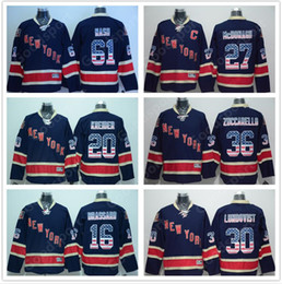 Wholesale Font Blue - NHL New York Rangers Flag Font Hockey Jerseys #61 NASH #20 KREIDER #16 BRASSARD #30 LUNDQVIST #27 McDONAGH #36 ZUCCARELLO