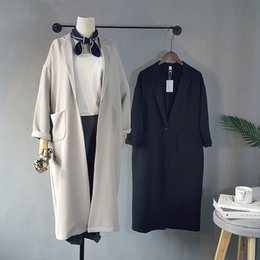 Wholesale knee length coat women - Wholesale- Autumn Long Woman batwing sleeve Oversize Coat Knee Length fashion black casual trench outwear long sleeve work coat with pocket