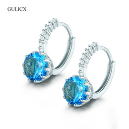 Wholesale Earing Piercing - Wholesale- GULICX Fashion Piercing Ear Circle Earing Jewelry White Gold-color Zirconia CZ Crystal Wedding Hoop Earrings for Women E005