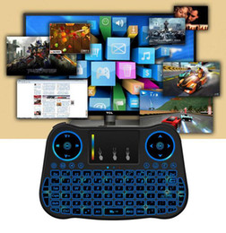 Wholesale Portable Color Tv - Portable Touch Control Mouse 2.4G Mini MT08 Wireless Keyboard Backlit With 7 Color Backlight Remote Controlers For MXQ M8S MiniX TV Box