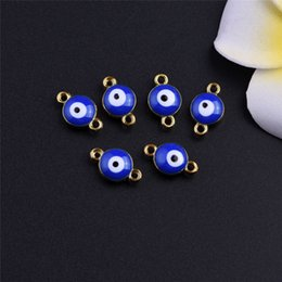 Wholesale Evil Eye Diy - Wholesale 50pcs Zinc Alloy Gold Plated Enamel Blue Evil Eye Beads Connector Charm Pendants For Female Jewelry Accessories DIY Free Shipping