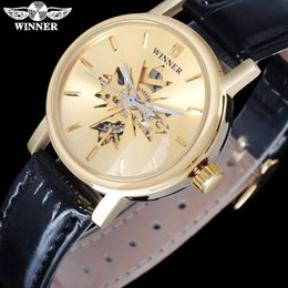 Wholesale Automatic Mechanical Skeleton - WINNER Famous Brand Women Mechanical Wristwatches Luxury Automatic Self Wind Watch Skeleton Dials Gold Case Leather Band SLZb01