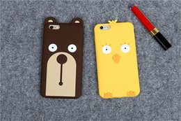 Wholesale Chicken 3d - Fashion Cute 3D Cartoon Chicken Bear Soft Silicone Case Cover for iphone7 7plus iPhone5S iphone6 6S 6plus
