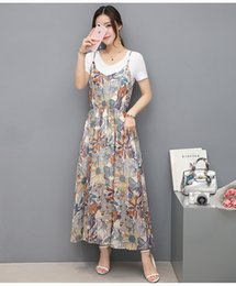 Wholesale Two Piece Linen Casual Suit - Hot sales discount high-quality design suit was thin dress Chiffon printing harness dress two-piece dress Europe and the United States class