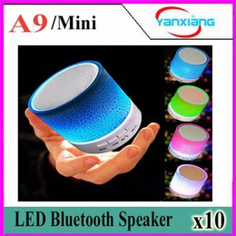 Wholesale Blutooth Phones - 10pcs Mini A9 LED light Bluetooth Speaker Mini Blutooth Boombox Wireless Portable Receiver Audio Radio FM Som Soundbar YX-A9-03