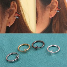 Wholesale Clip Earrings Wholesale Fashion - Wholesale-Hot Sale 1 Pcs Fashion Punk Clip On Fake Piercing Nose Lip Hoop Rings Earrings 4 Colors Drop Shipping EAR-0139