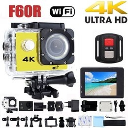 video wifi lcd Rebajas Cámara de acción 4K F60R WIFI 2.4G Control remoto Cámara de video impermeable 16MP / 12MP 4K 30FPS Registrador de buceo