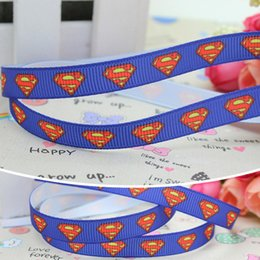 "Wholesale Superman Grosgrain Ribbon - 3 8"" 9mm Popular Superman Blue Printed Grosgrain Ribbon Bows Crafts Decorations DIY Party Hair Accessories 50 100Y A2-9-29"