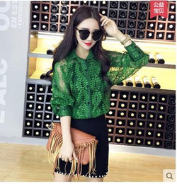Wholesale organza tops - fashion new High-grade lace hollow out long sleeve shirt plus size summer spring women Organza chiffon sheer button blouses coat tops cardig