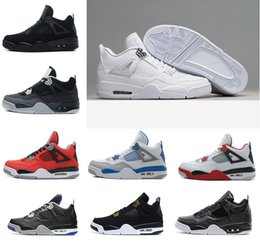 Wholesale Military Boot Lacing - 2017 air retro 4 Basketball Shoes men retros 4s Pure Money Royalty White Cement Bred Military Blue Fire Red Sports Sneakers US 8-13