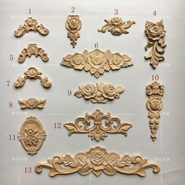 Wholesale Furniture Carvings - Wholesale- 4PCS LOT Wood Applique, Wood carved, European decals, roses patch ,furniture door decals