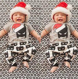 Wholesale Cartoon Shirts For Girls - 2017 Baby Christmas Outfits Kids Cartoon Batman Christmas hat shirt & trousers 2pcs set Girl Boy Super Hero Casual Clothes for 0-3T