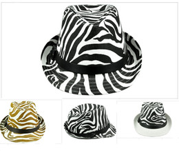 Wholesale zebra print colors - Unisex Zebra Print Panama Beach Cap Straw Sun Hat For Women 3 Colors Available 6pcs lot Free Shipping