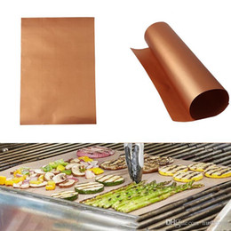 camping cooking tools Coupons - Gold BBQ Mats Reusable Teflon Home Garden Outdoor Copper Chef 40*33cm Non-Stick Cooking Gril Bake Mats Baking Sheet Camping BBQ Pad Tool