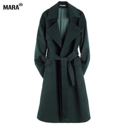 Wholesale Trench Manteau Femme - Wholesale-New Winter Women Long Wool Coat Loose 2016 New Fashion Plus Size Turn-down Collar Woolen trench coat Outerwear manteau femme