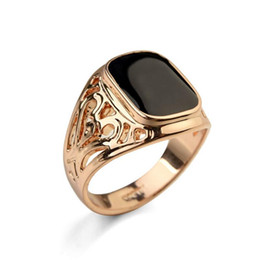 Wholesale Great Selling - New Brand Hot Selling Classic Men Finger Ring 18k Gold Plated Fashion Jewelry Black Ring Man Free Shipping
