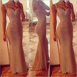 Wholesale Trumpet Shaped Prom Dresses - Classic Golden double Shoulder Prom Dresses sleeveless See Through Mermaid Shape Cheap In Stock 2015 In Stock Women Formal Party Wear dress