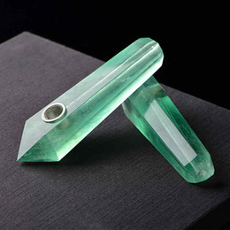 Wholesale Fluorite Crystals - Smoking Dogo 2017 New Arrival Natural Crystal Smoking Pipes Green Fluorite Pipe Tobacco Pipes Hand Pipe FREE SHIPPING CPP-016