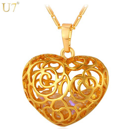 Wholesale Real Red Crystal Necklace - unique New Trendy Flower Hollow Pendant Necklace Wholesale Platinum 18K Real Gold Plated Crystal Stone Women Heart Jewelry Gift P800
