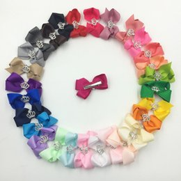 Wholesale Girls Hair Accesories - Fashion Diamonds Crowns Bowknot Kids Hairclips Princess Baby Girls Hair Pins Bow Children Hair Accesories Head Bows 30pcs