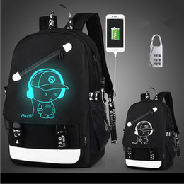 Wholesale Character Usb - Fashion USB Charge Luminous backpack men students bags travel bag Computer backpack Large capacity shoulder bag with anti-theft lock