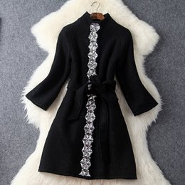 Wholesale Europe Winter Coat - Europe and the United States 2016 Winter new Stand collar Heavy Beaded diamond Woolen coat slim