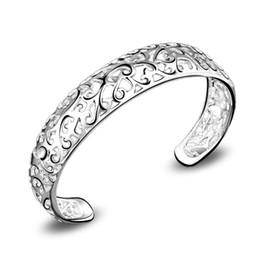 Wholesale Cheap Metal Bangles - Hollow Metal Bracelets 925 Silver Plated Bangle Women Ladies Bracelet womens Bangles Vintage Cheap Jewelry Fashion Jewellery Gifts